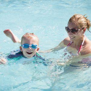 lady and boy swim lessons