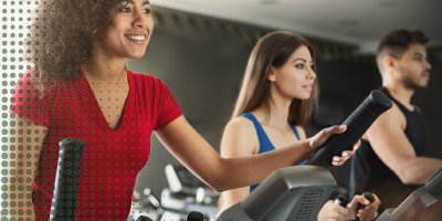 2 ladies and 1 man in fitness center